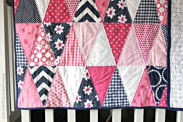 pink and navy triangle quilt