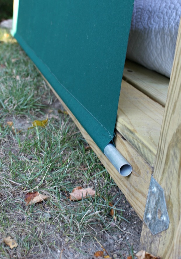 diy outdoor cabana awning with pipe weight