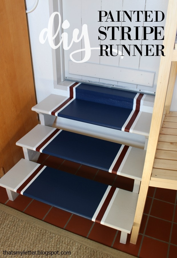 diy painted stripe runner on wood steps