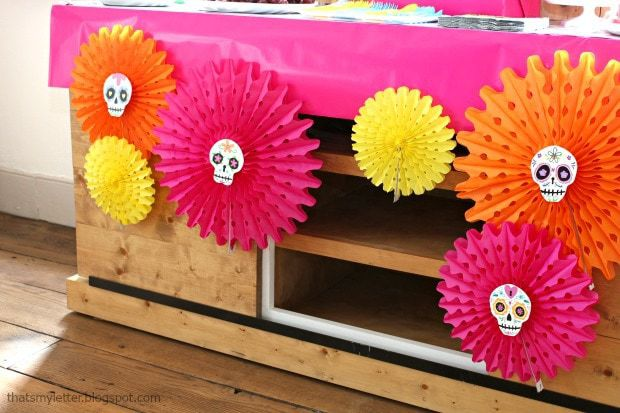 sugar skull party colorful tissue fans