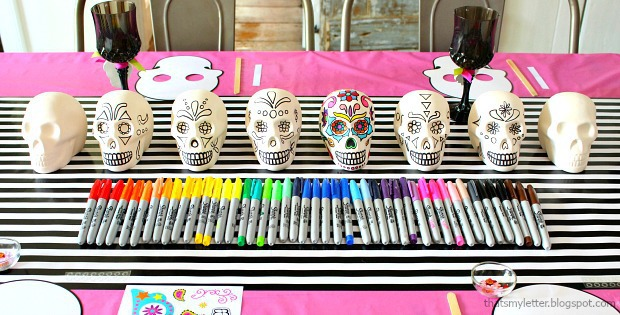 Day of the Dead Halloween party ceramic skulls