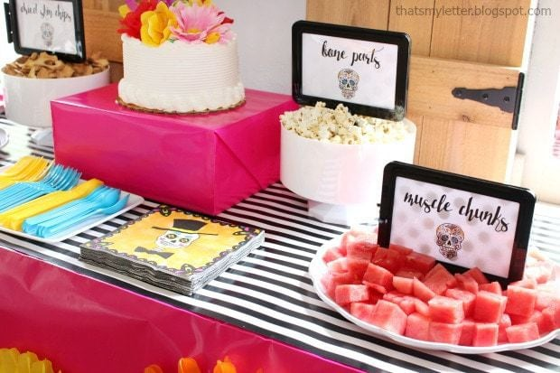 Sugar skull Halloween party treat table