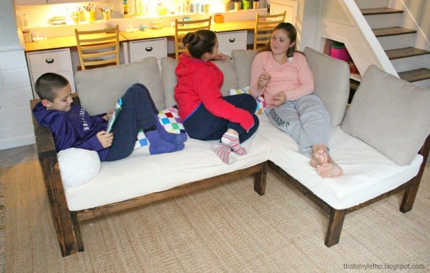 kids lounging on diy sectional