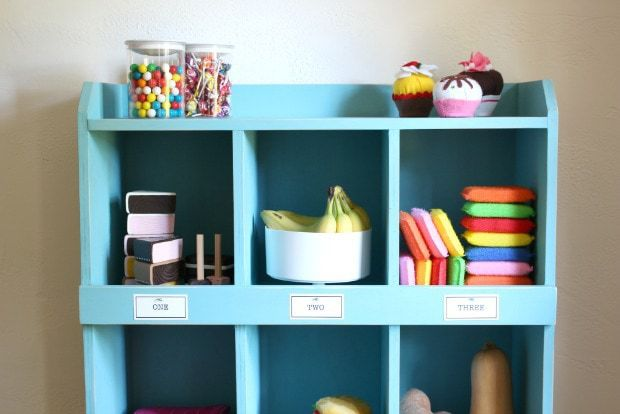 diy pretend play market cubbies