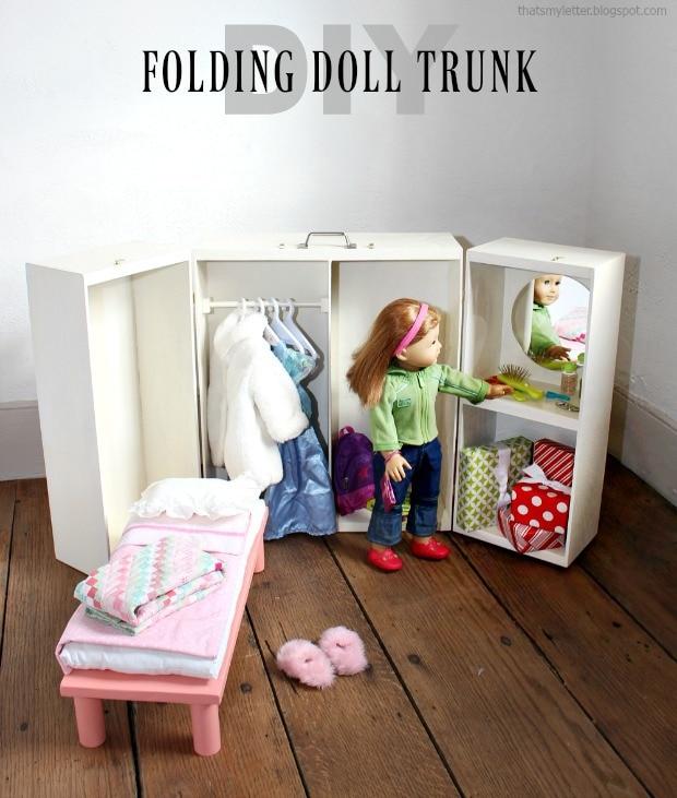 diy folding doll trunk storage free plans