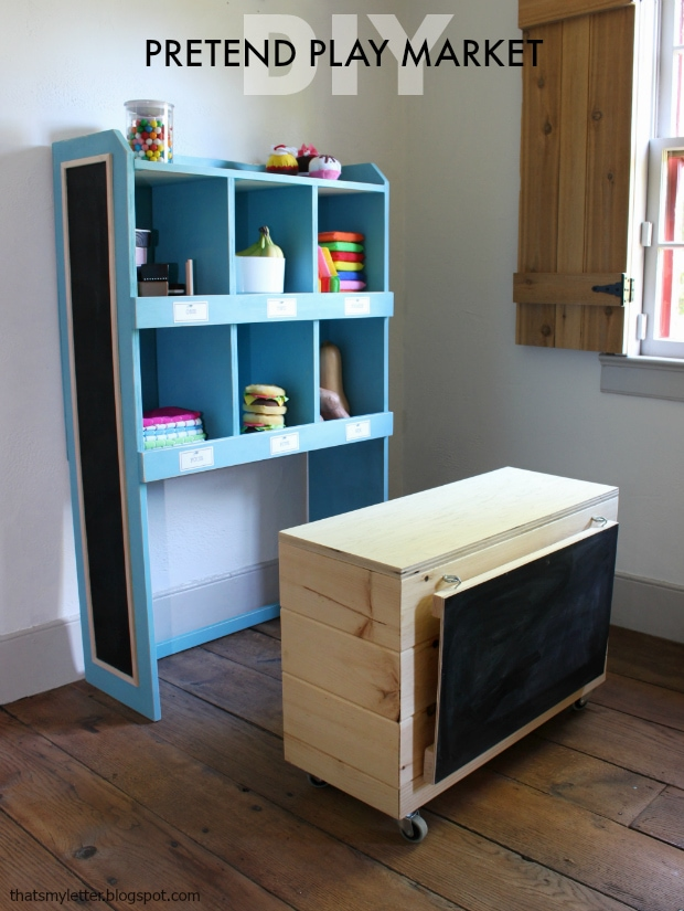 diy pretend play kids market shelves and counter free plans