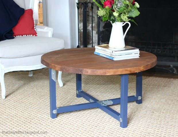 diy round coffee table with planked top