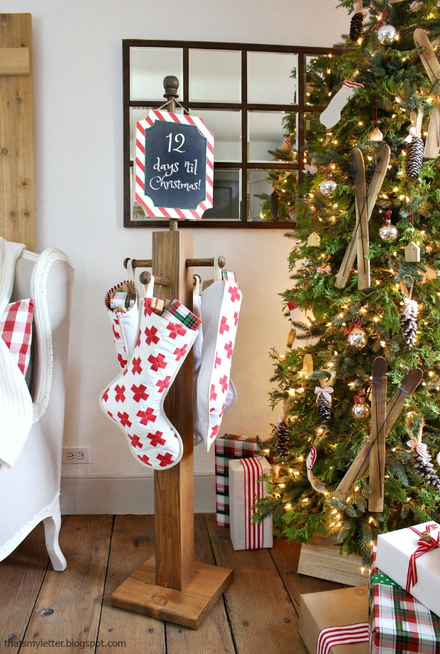 diy stocking holder by Christmas tree