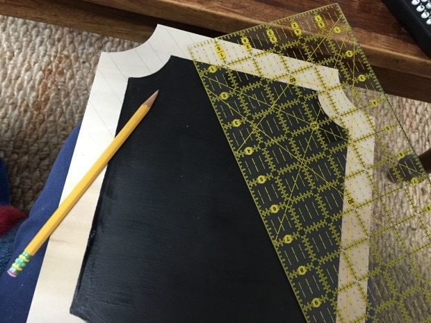 clear quilting ruler to draw angled lines