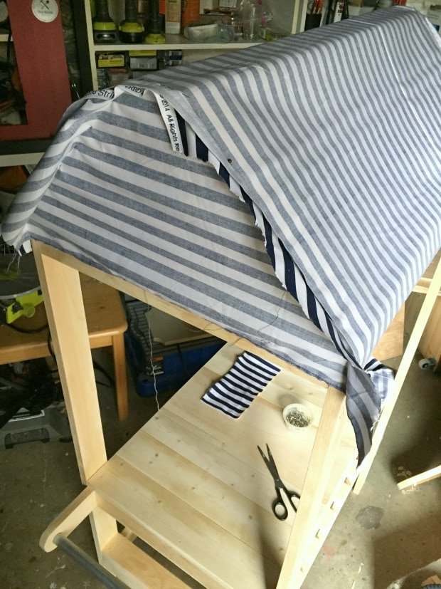 pinning fabric awning inside out to sew