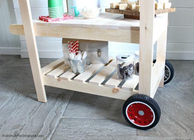 diy kids cart with open shelves