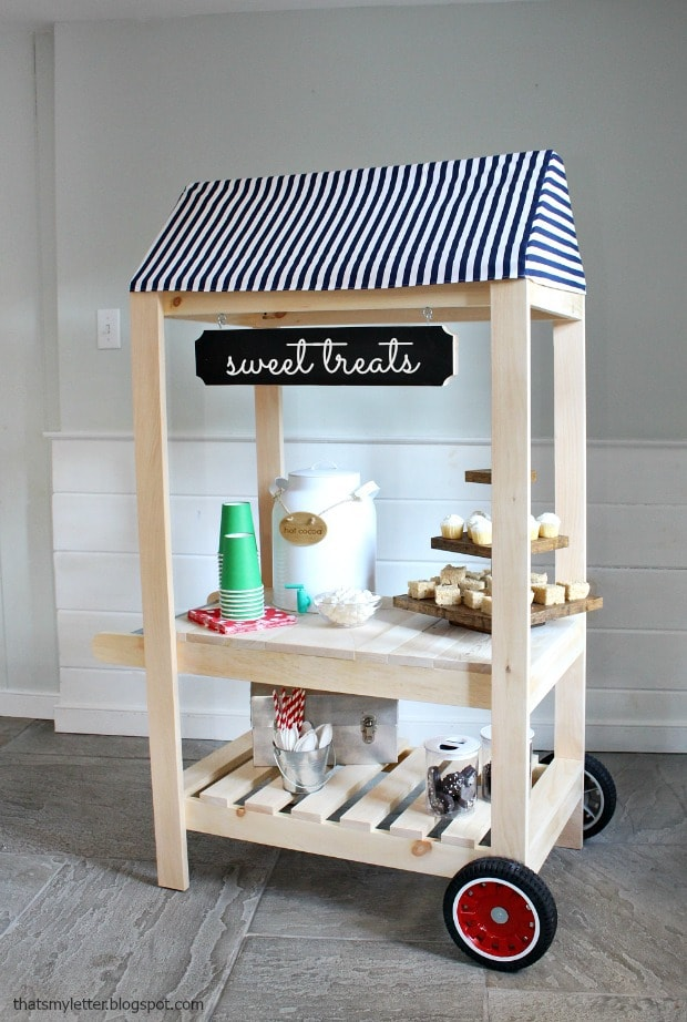 kids size street vendor cart with awning