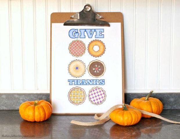 thanksigiving pies free printable