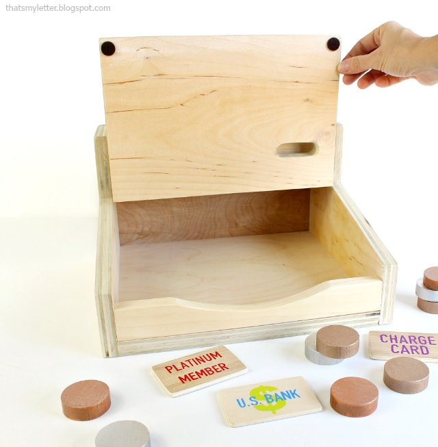 diy wood kids play cash register