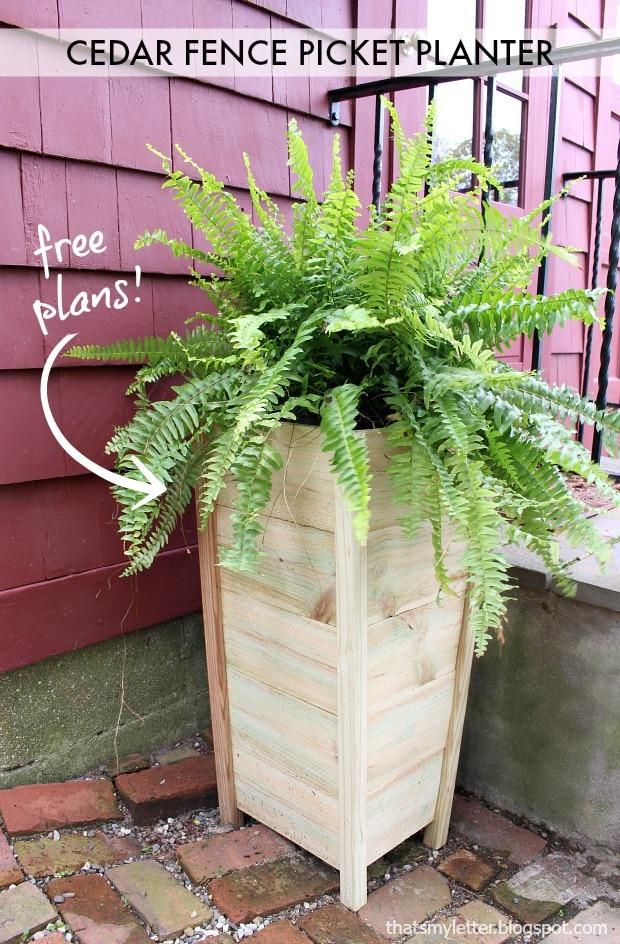 diy cedar fence picket planter free plans