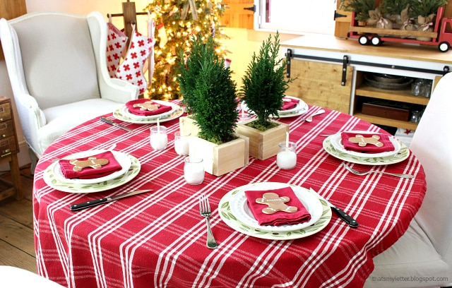 christmas morning table with gingerbread placecards