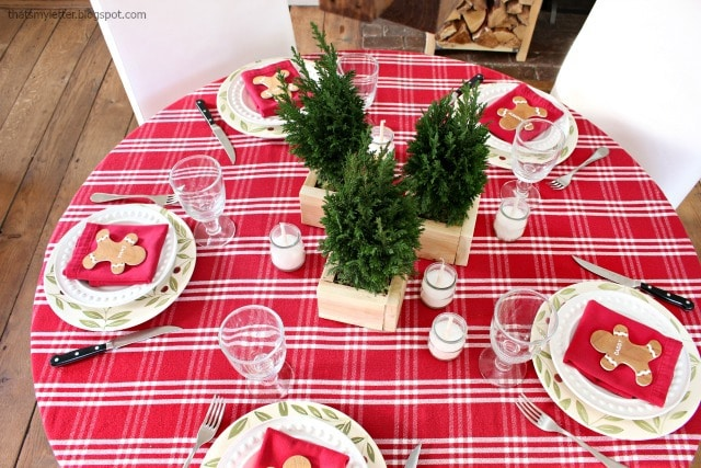 diy christmas tablescape red plaid