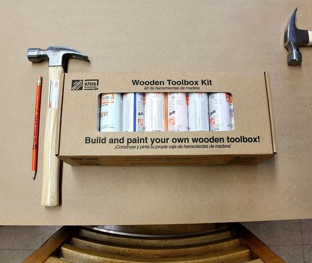 kids workshop toolbox table set up