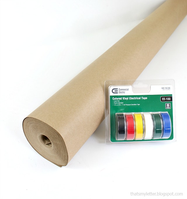 brown masking paper and electrical tape gift wrapping