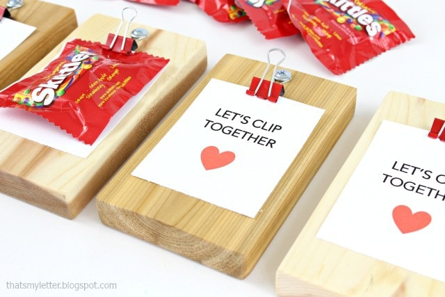 diy mini clipboard valentines with candy