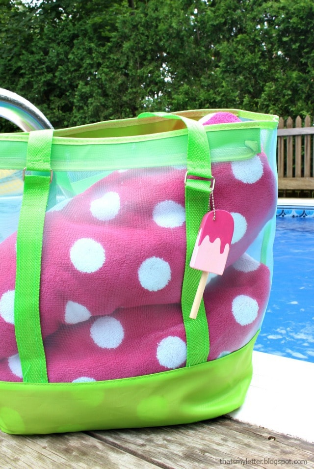 pool bag with popsicle fob