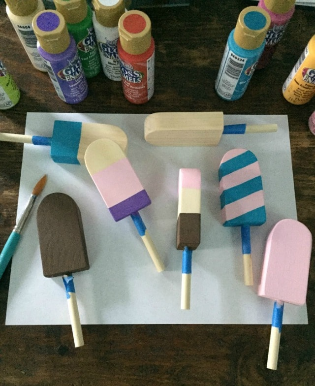 paint wood popsicles