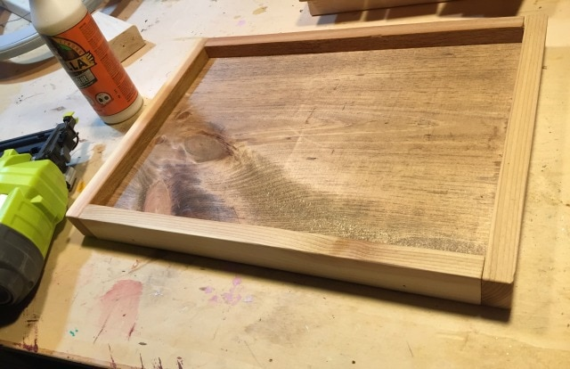wood board with cedar frame