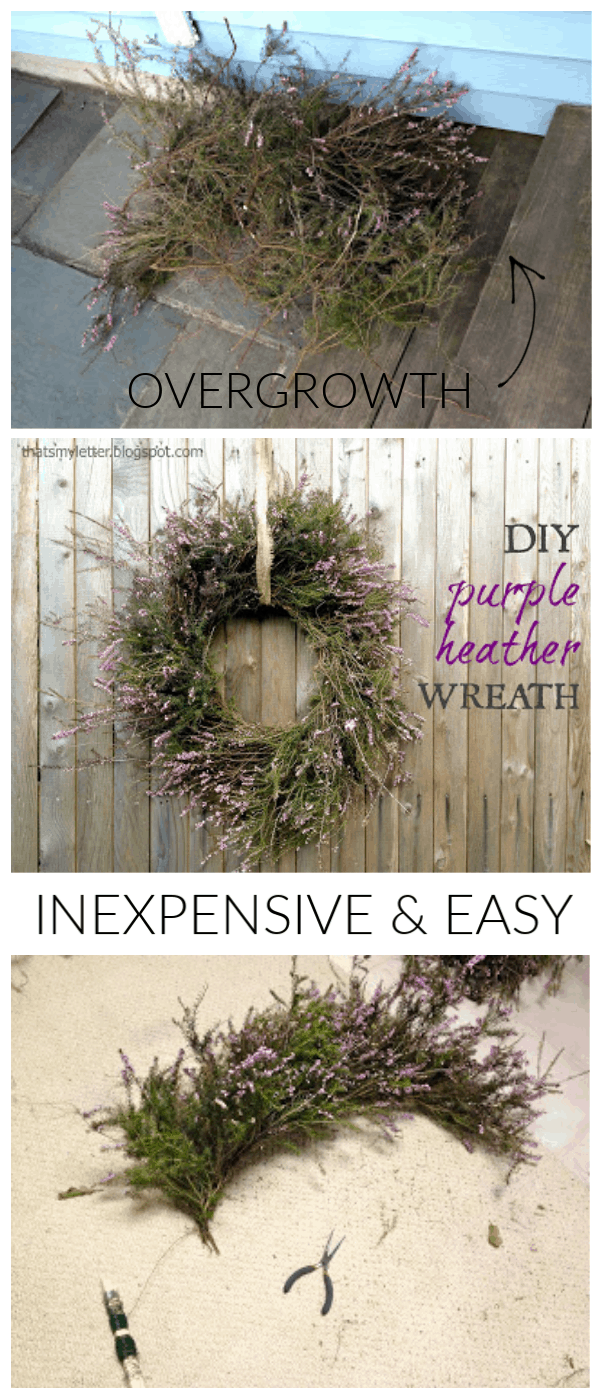 diy purple heather wreath