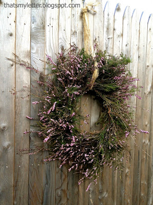 purple heather made into a wreath
