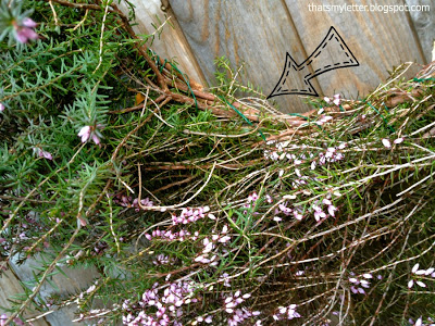 purple heather and wire wreath