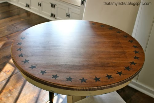 diy round game table with handpaint star pattern