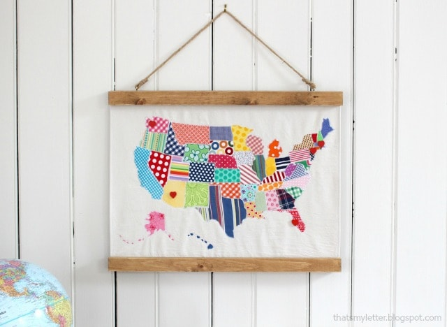 fabric wall map with wood frame