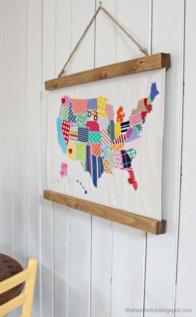 fabric map wall hanging decor