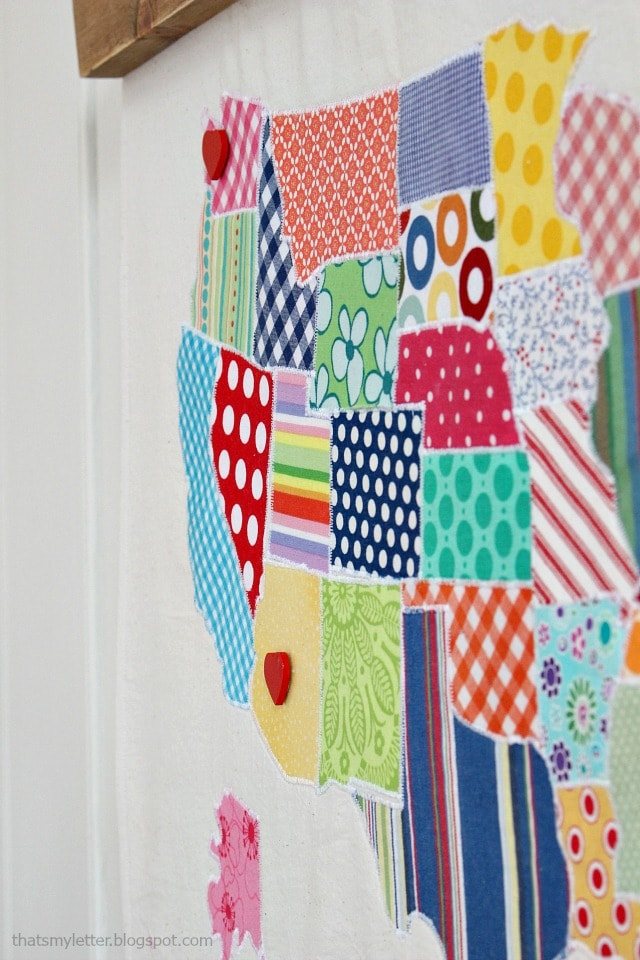 detail of fabric map wall hanging