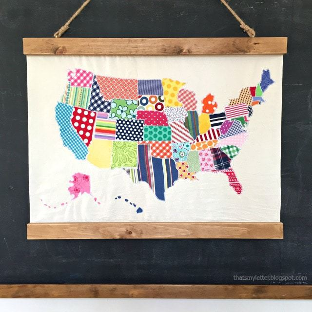 diy map wall hanging on chalkboard