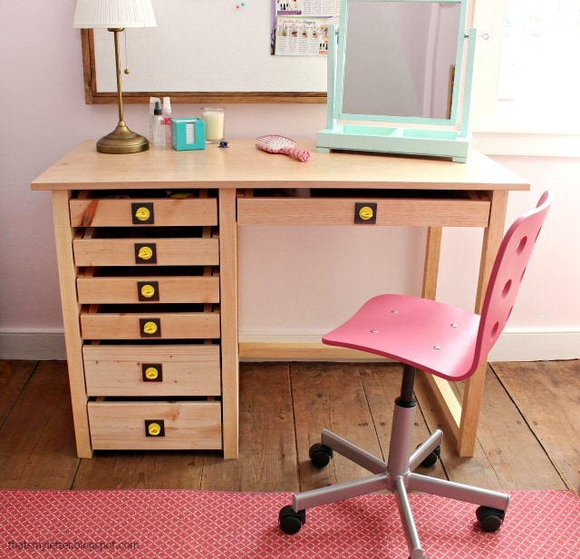 wood desk with lots of drawers