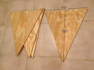scrap wood cut into triangles