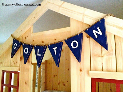 diy wood bunting with kids name
