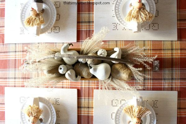 wood gobble thanksgiving placemats