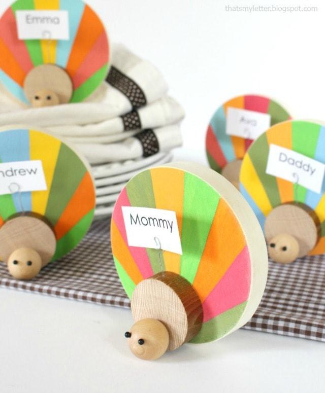 diy wood turkey place card holders