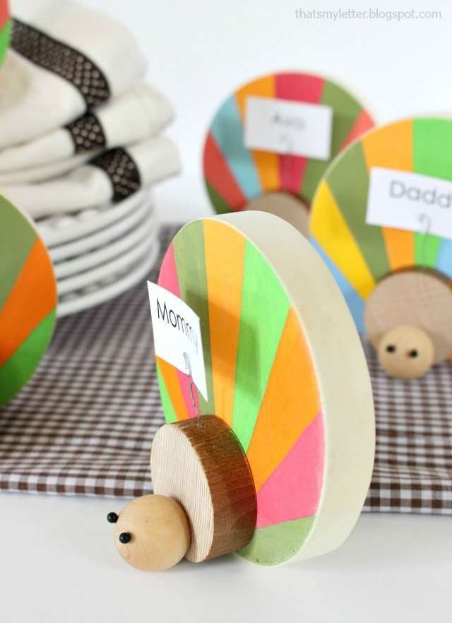 painted wood turkey place card holders