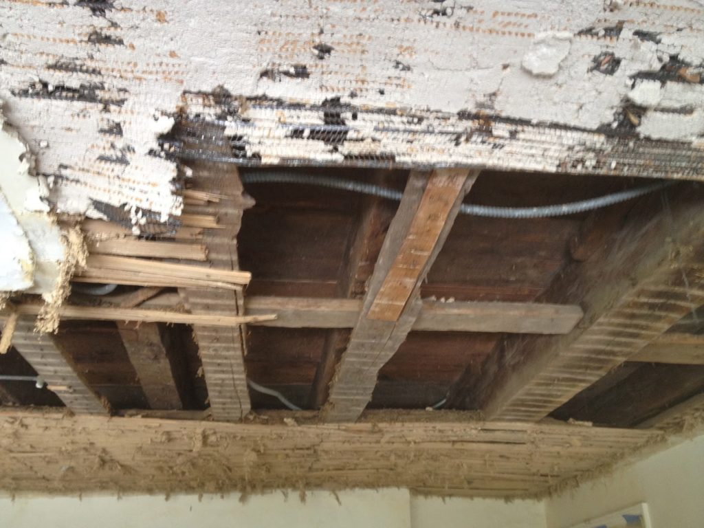 lath with metal and plaster ceiling removal