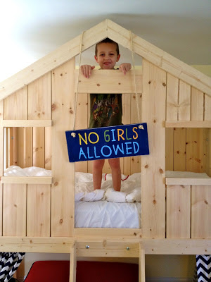 no girls allowed sign on clubhouse bed