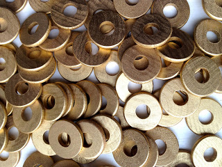wood washers painted gold
