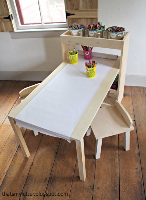 kids art table and chairs with storage