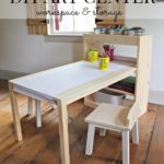 DIY Kids Art Center Worktable with Storage Shelves
