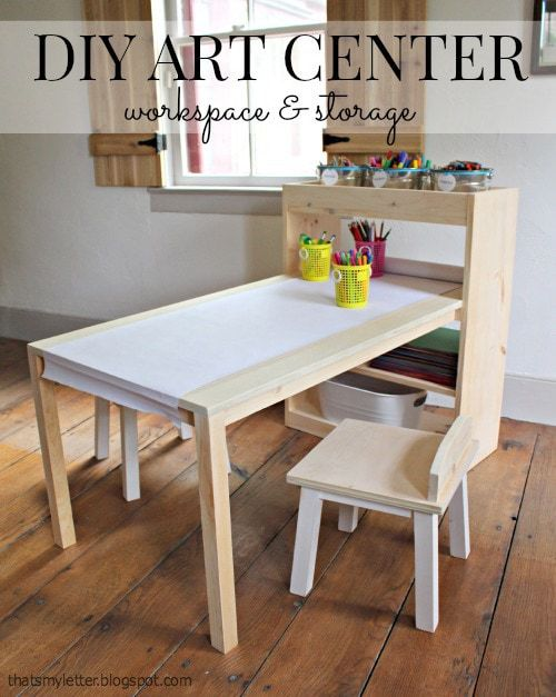 diy kids art center workspace and storage