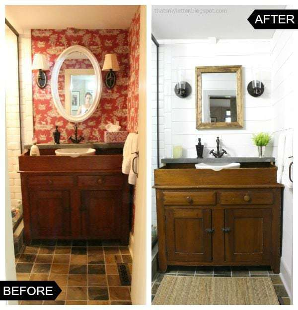 antique saltbox bathroom makeover before and after