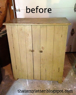 vintage storage cabinet before