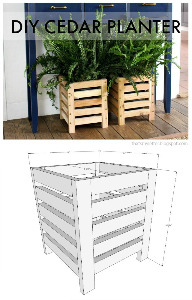 diy cedar scrap wood planter free plans